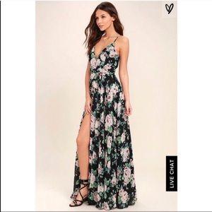 Lulus floral maxi wrap dress backless